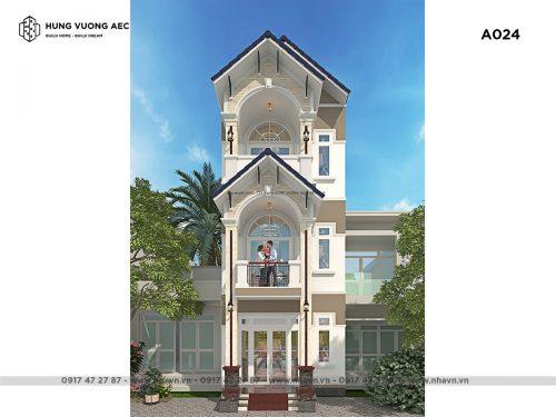 Nhà phố mái thái 3 tầng 5×15 – A024