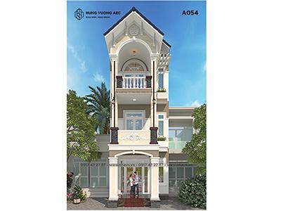 Mẫu nhà phố 5×15 mái thái 3 tầng – A054