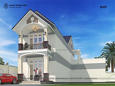 Nhà mái thái 2 tầng chữ L 5×20 – B101