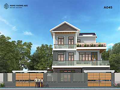 Biệt thự 3 tầng hiện đại mái thái 11×15 – A045